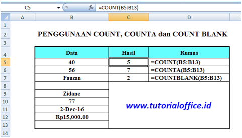 Fungsi Count  Counta  Countblank