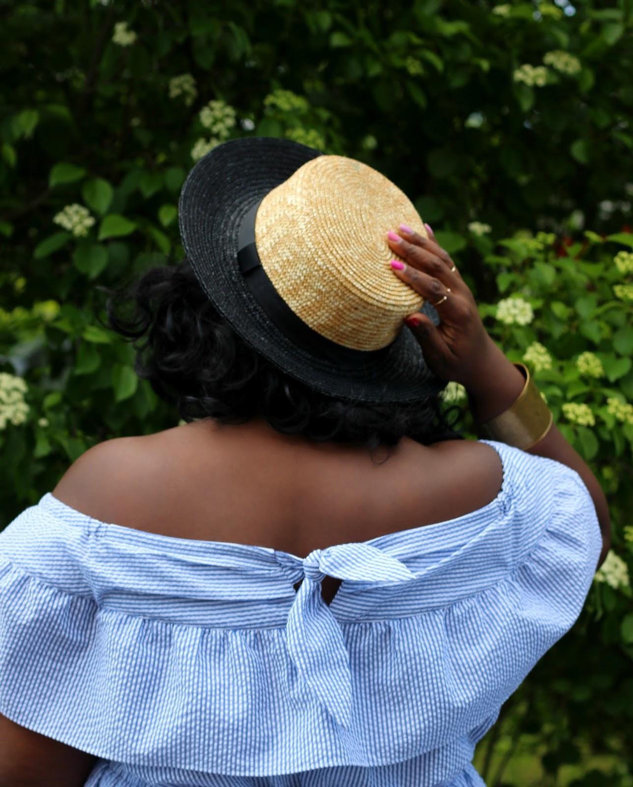 eloquii seersuker dress boater hat outfit