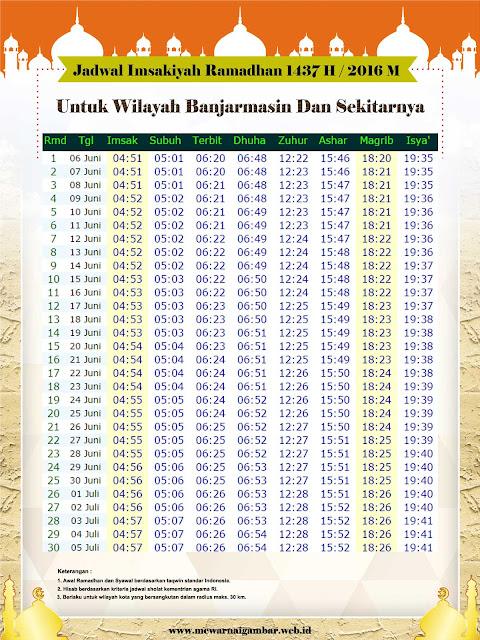 Jadwal Imsakiyah Banjarmasin Ramadhan 1437 H 2016 M