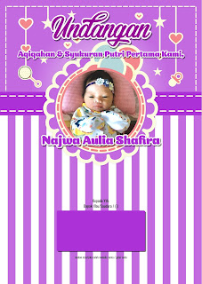 Undangan Aqiqah Purple Ornament Corel Draw Depan