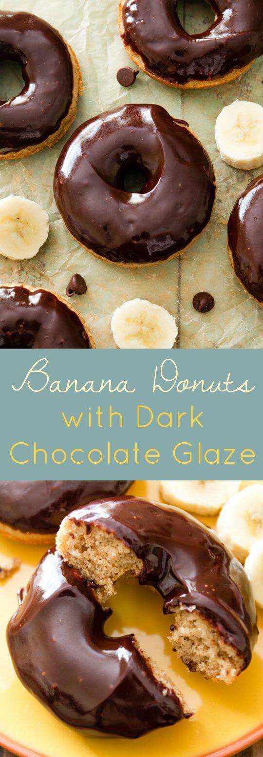 Brown Sugar Buttermilk Banana Donuts with Dark Chocolate Glaze