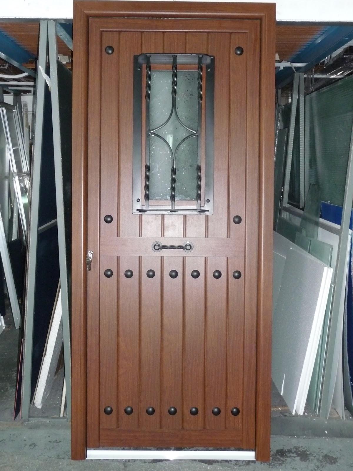 Aluminio y cristal puerta rusticas for Puertas de entrada de aluminio rusticas