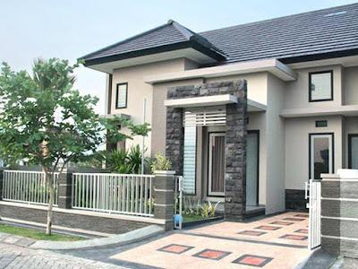 kreasi desain teras rumah minimalis batu alam