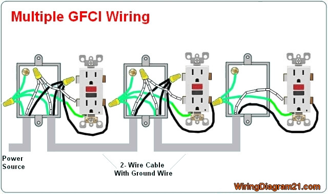 gfci outlet wiring diagram house electrical wiring diagram rh wiringdiagram21 com wiring multiple outlet ceiling rose wiring multiple receptacles diagram