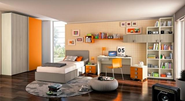 Habitaci n juvenil en color gris y naranja colores en casa for Jugendzimmer colours