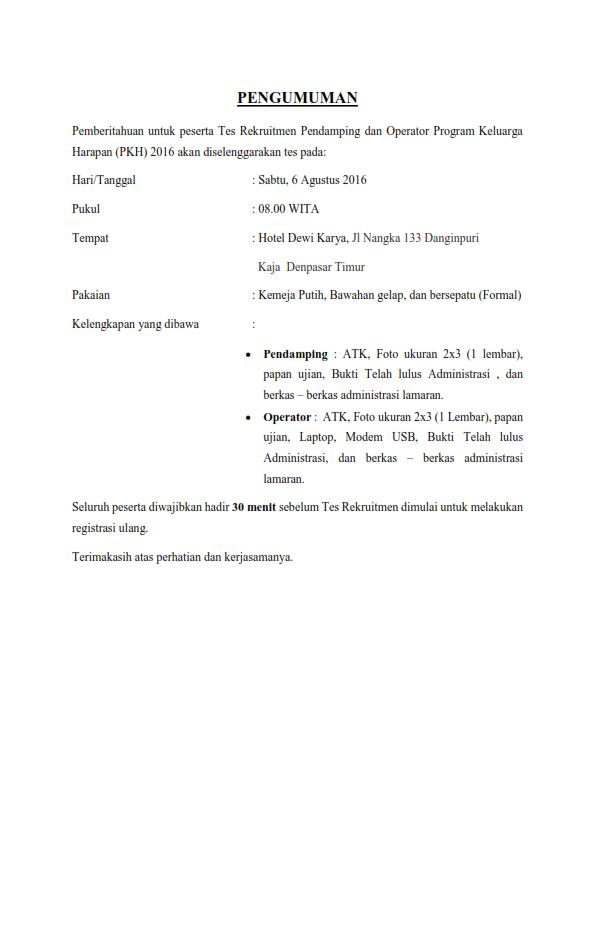 Jadwal Tes Kompetensi Rekruitmen Pendamping dan Operator PKH tahun 2016 Wilayah Bali