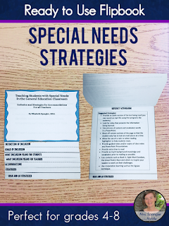 Ready to Use Special Needs Strategies for Middle School Teachers.  Comes in a handy flipbook for easy reference!  #classroom #education