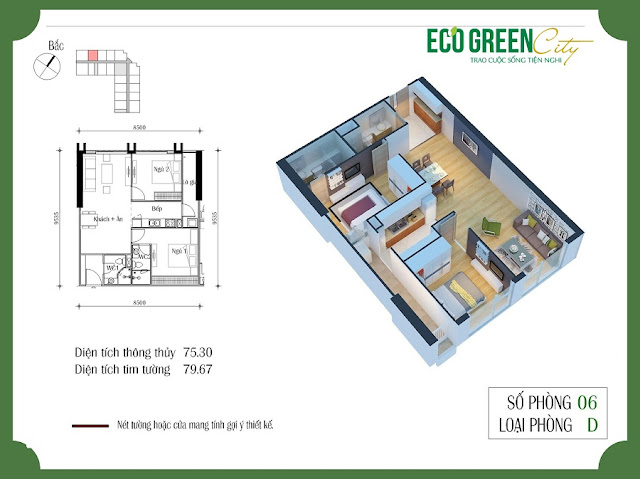 Thiết kế căn hộ 06 tòa CT2 Eco green city