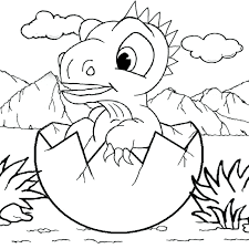 Cute baby dinosaur coloring pages For Kids