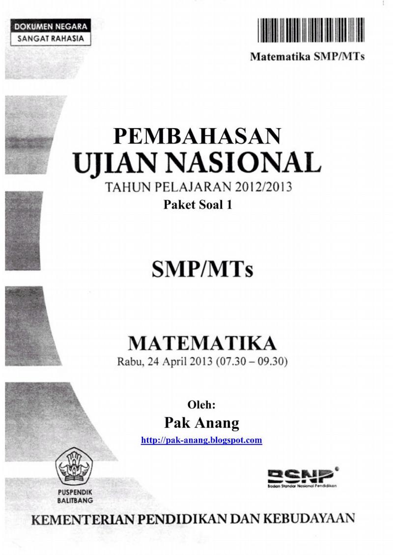 Download Gratis 20 Paket Soal Ujian Nasional Matematika SMP - MTS Tahun 2014