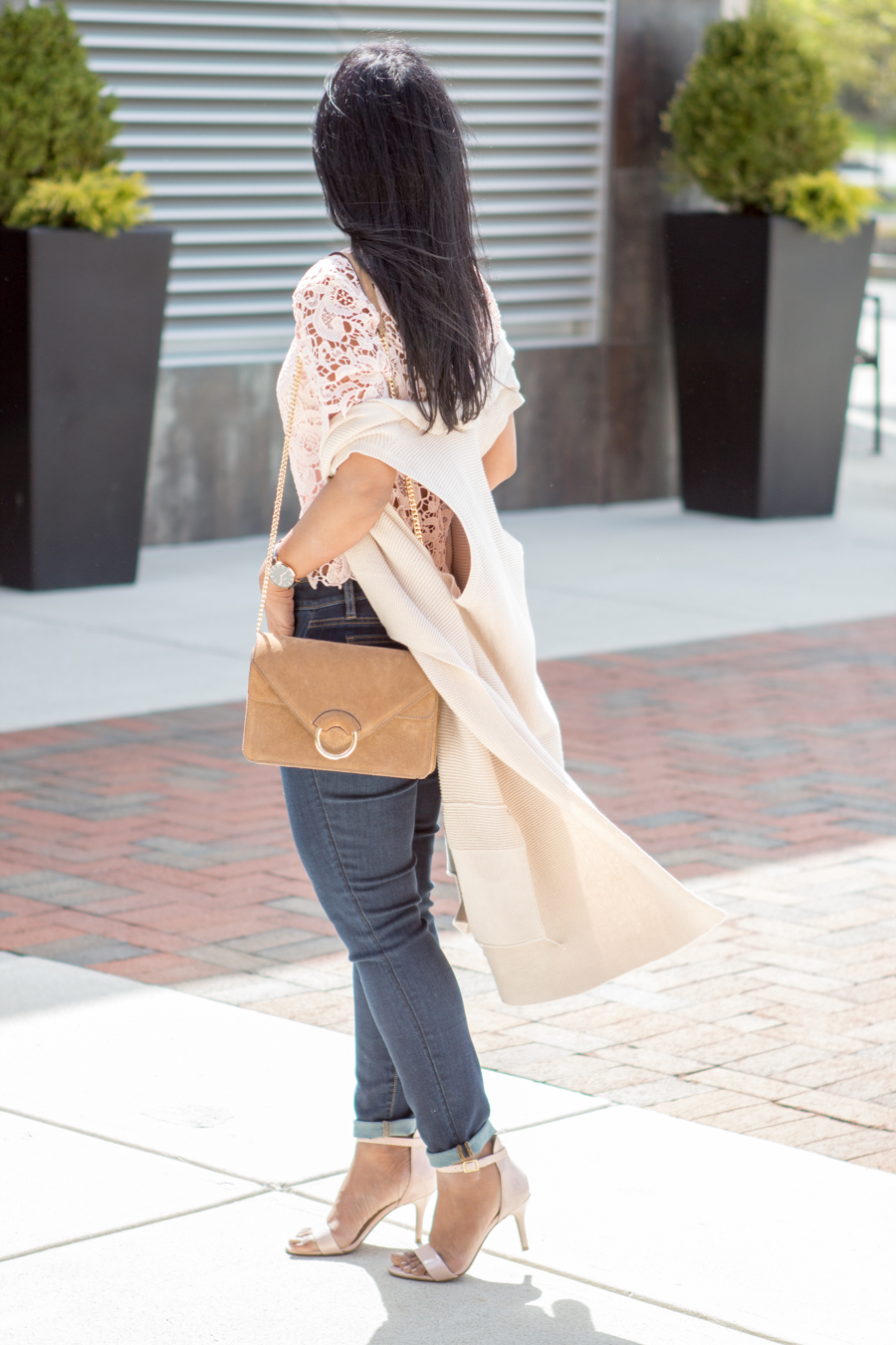 curvy jeans, petite jeans, skinny ankle jeans, spring lookbook, layers, vest, blush lace top, lace blouse, blush sandals, petite fashion, spring style, trendy style, banana republic bag, ann taylor