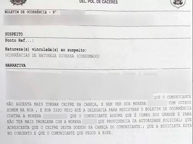 """Em Mato Grosso, homem traído registra boletim de ocorrência cansado de """"levar chifre"""" da esposa"""