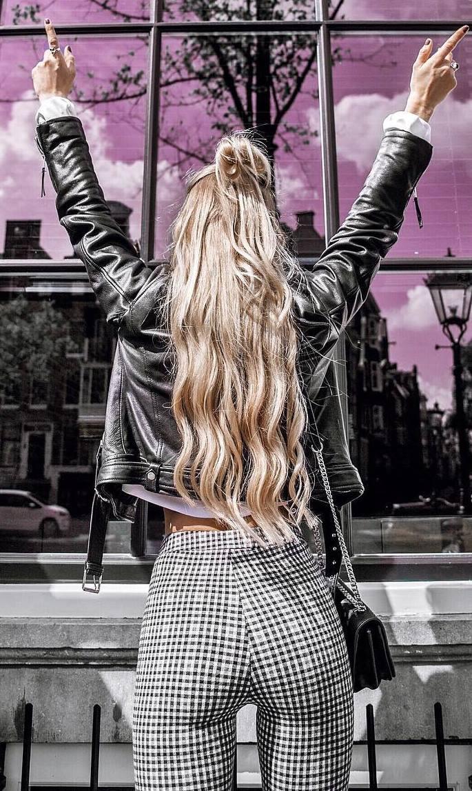 street style addiction / moto jacket + blouse + plaid pants + bag