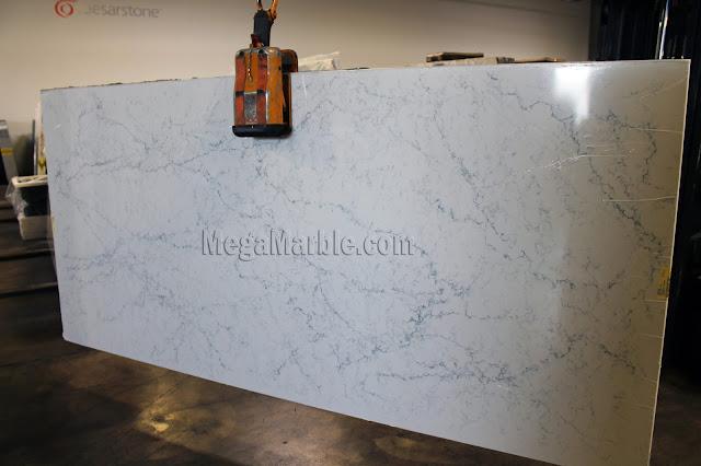 White Attica Caesarstone Quartz Countertops Slab