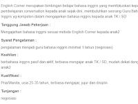 Lowongan Guru Bahasa Inggris English Corner Cibonong Bogor