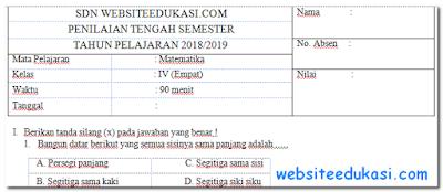 Soal PTS Matematika Kelas 4 Semester 2 K13 Tahun 2018/2019