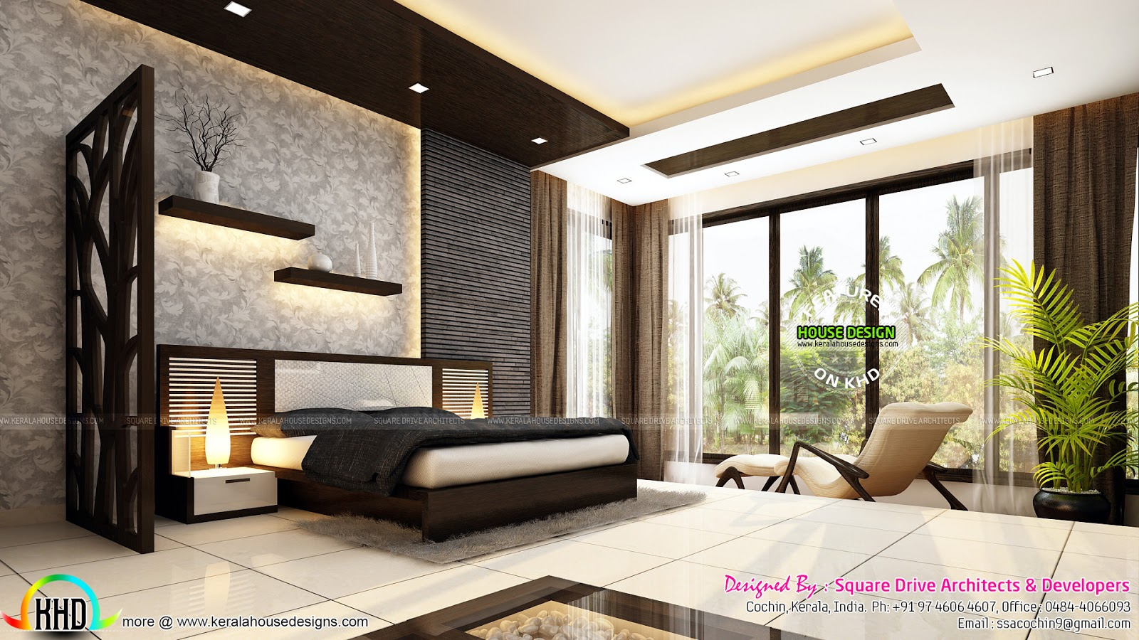Very beautiful modern interior designs kerala home for Interior design for living room and bedroom