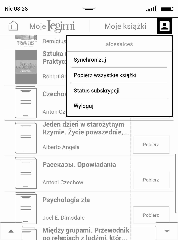 Rozwijane menu aplikacji Legimi w PocketBook TouchHD2