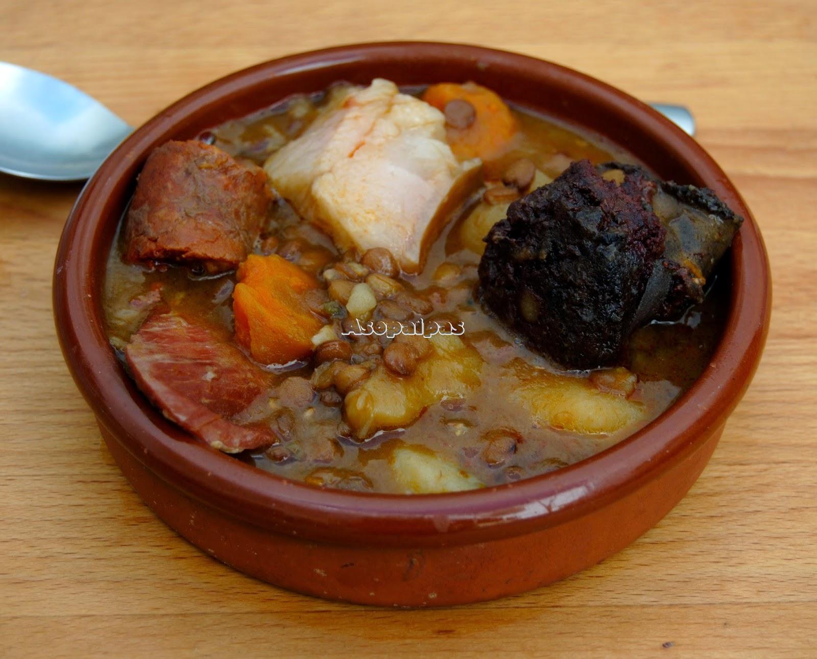 Lentejas Serranas de Huelva con Chorizo, Morcilla, Jamón y Tocino