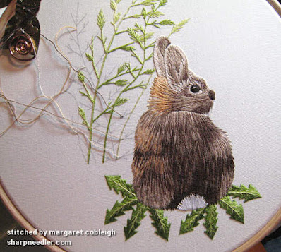 Undercoat embroidered on thread painted 'Wild Rabbit' designed by Tanja Berlin