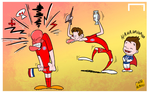 Muller teasing Robben cartoon