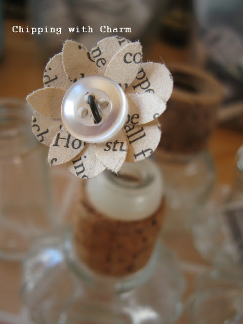 Chipping with Charm: Bitty Book Page Flowers www.chippingwithcharm.blogspot.com