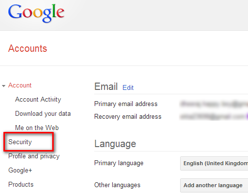 Security Option In Google Account Setting
