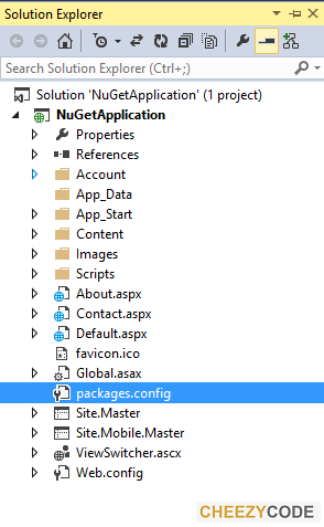 Solution Explorer Showing packages.config for nuget