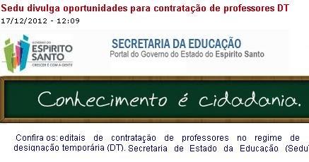 Concurso SEDU seleção para professores DT 2013 - Teixeira Concursos -  Noticias de Concursos no Brasil! 362d7902d9a81