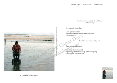 page from Into the Light by Corina Duyn with image and quote  IN a wheelchair, or ON a scooter