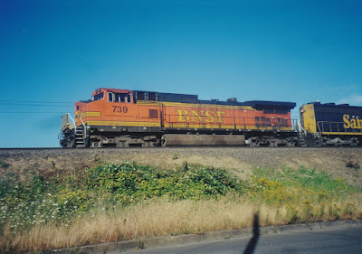 BNSF C44-9W #739 in Vancouver, Washington, in July, 1999