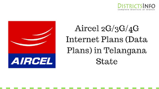 Aircel 2G/3G/4G Internet Plans (Data Plans) in Telangana State