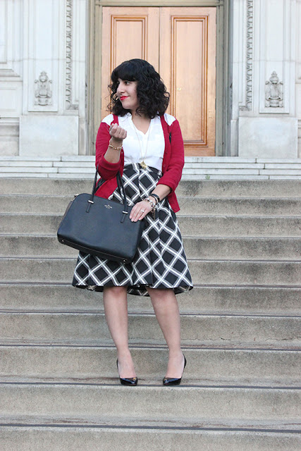 Merona Cardigan Express Portofino Shirt and Midi Skirt Work Outfit