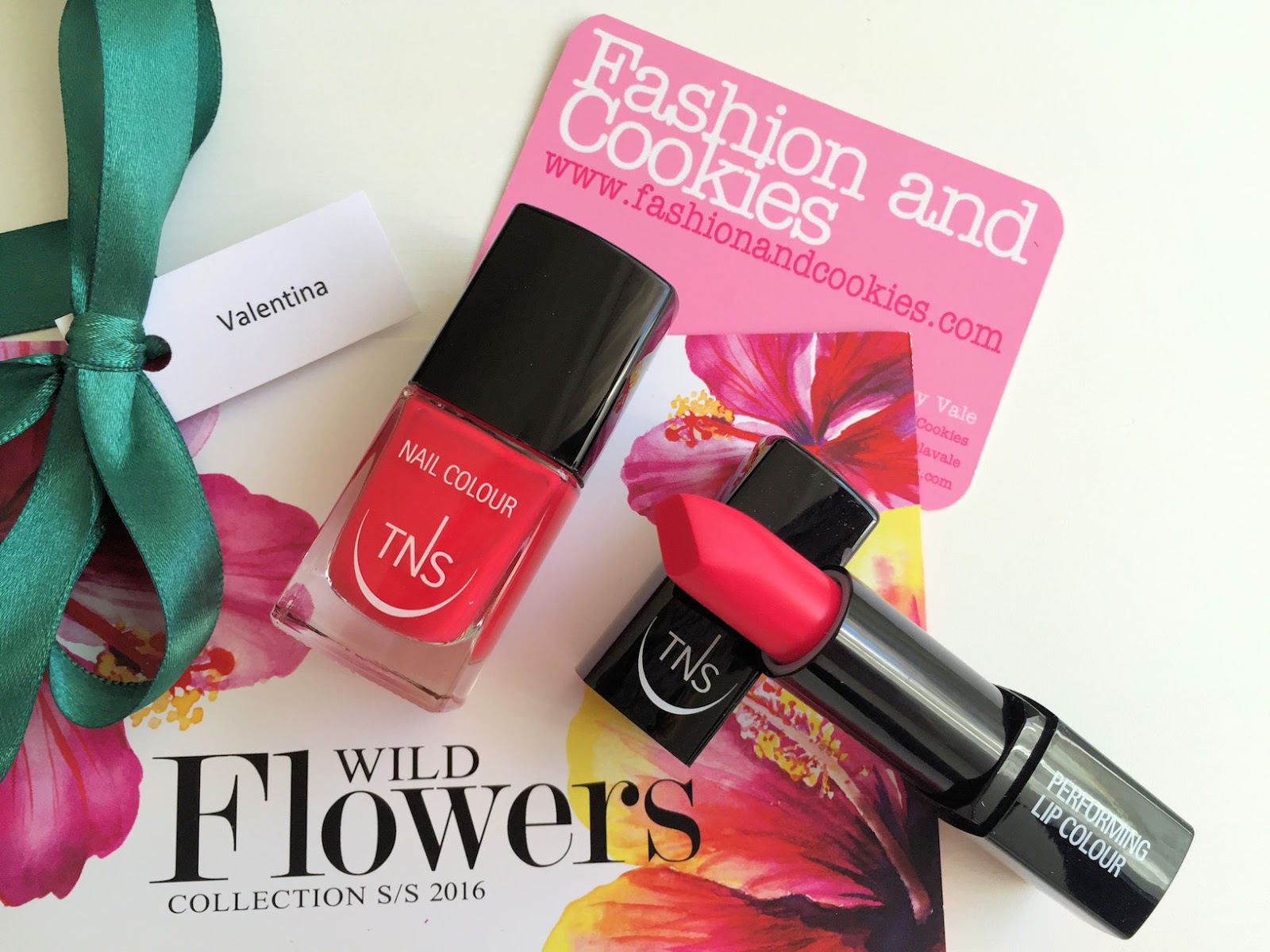TNS Cosmetics Wild Flower lipstick and nail polish review on Fashion and Cookies beauty blog, beauty blogger