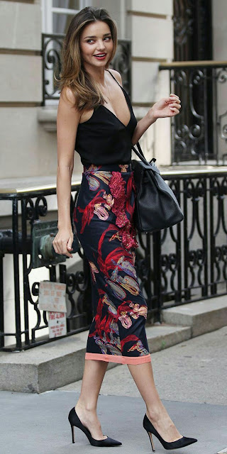 V neck blouse with printed maxi skirt