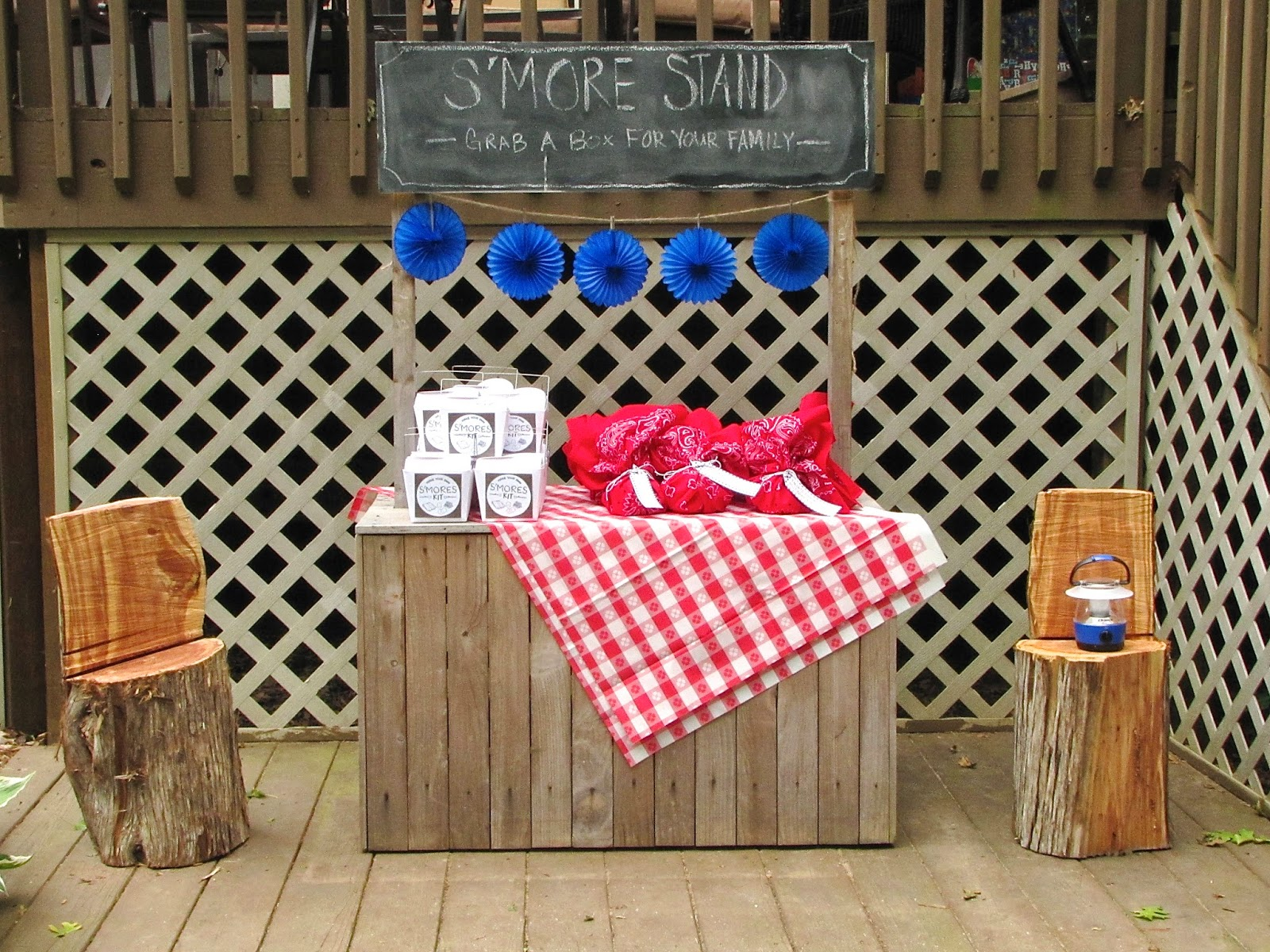 kids camping birthday party with smores stand
