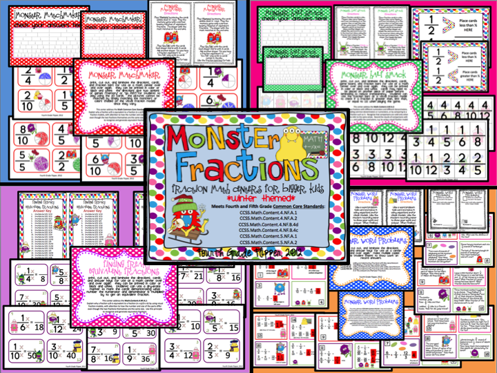 Number Names Worksheets fraction charts equivalent fractions : Fourth Grade Flipper: Monday Made It January and Giveaways:)