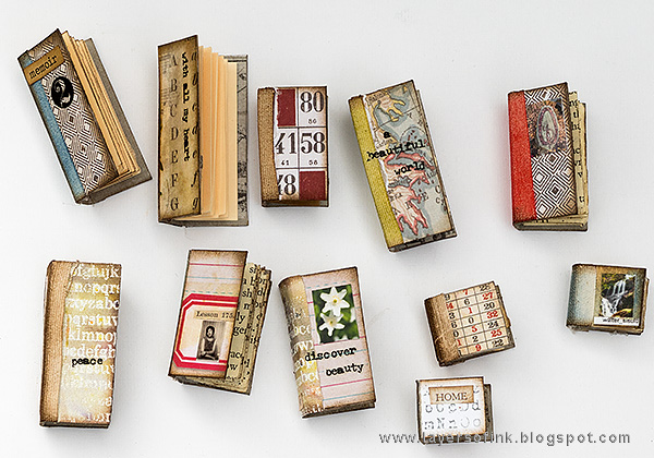 Layers of ink - Miniature Bookshelf with Handmade Books Tutorial by Anna-Karin