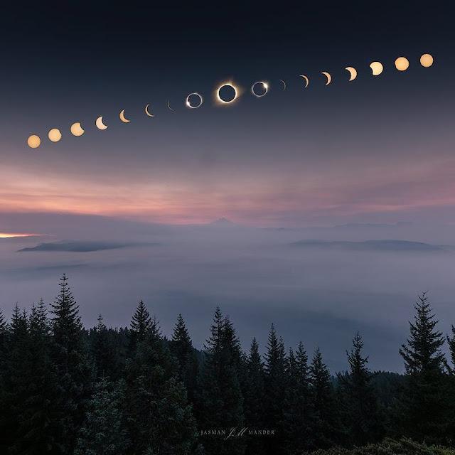 Các pha nhật thực cho thấy quá trình Mặt Trăng đi ngang và che lấp bề mặt Mặt Trời trên bầu trời Oregon. Hình ảnh: Jasman Mander.