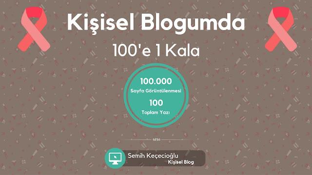 Kişisel Blogumda 100'e 1 Kala