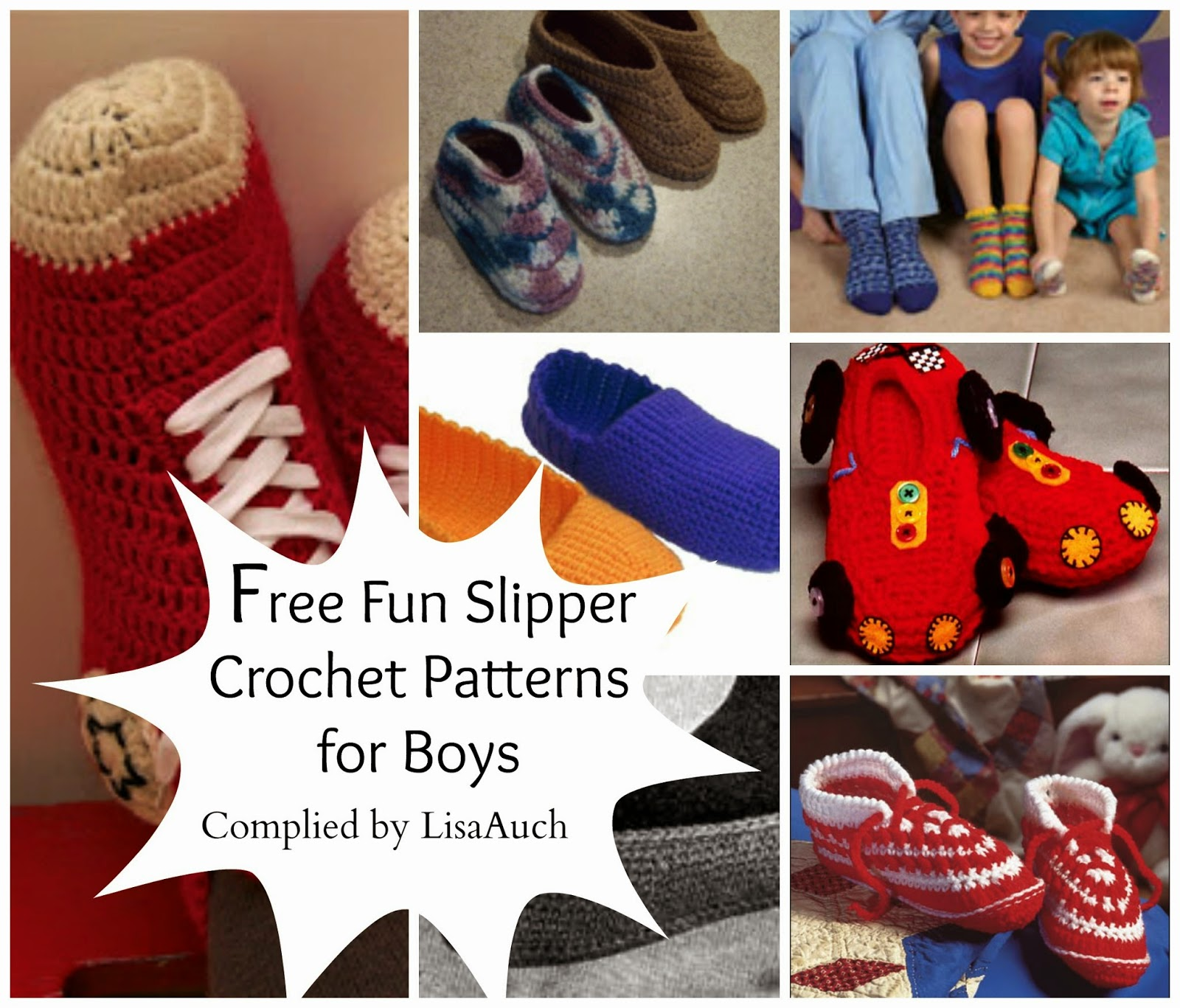 free crochet patterns slippers for boys men