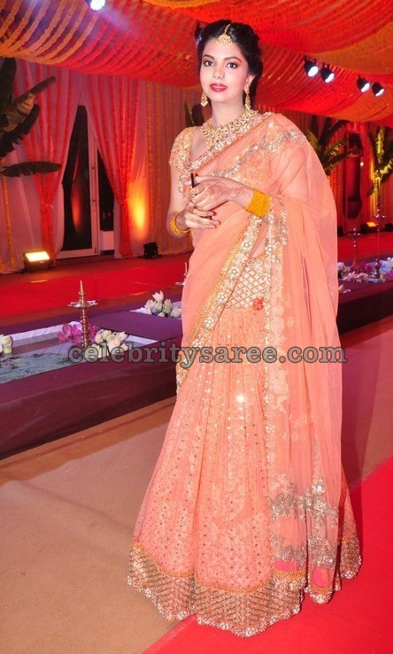 Gorgeous Lady Peach Lehenga Saree