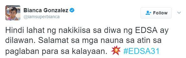 EDSA Revolution Is Not Just for Pro-Aquinos Bianca Gonzalez Says 'Hindi lahat ng nakikiisa sa EDSA ay dilawan.',