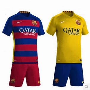 Lo tomo kit 2015-16 del Barcelona en casa puede parecer un poco como 2014  Copa del Mundo de Alemania equipación 337fe46681b