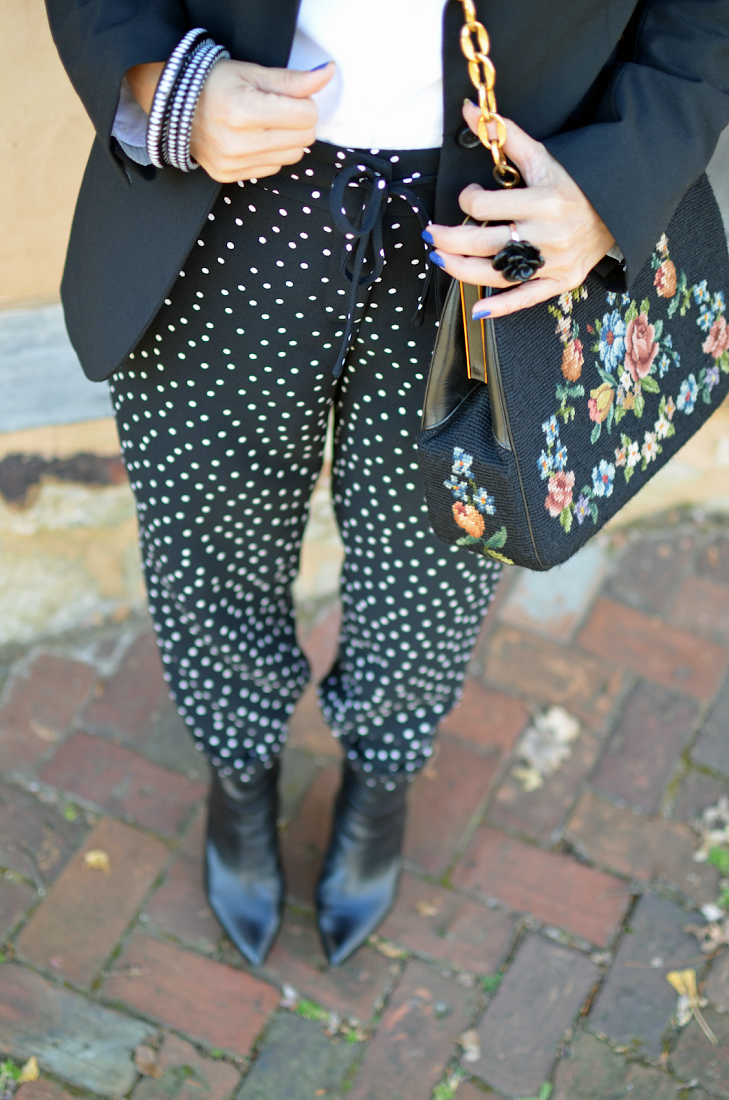Polka Dots Pants Needlepoint Bag Look