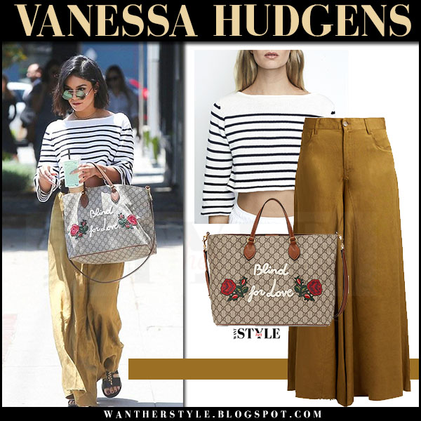 Vanessa Hudgens in striped white top and mustard pants maison margiela what she wore may 16 2017