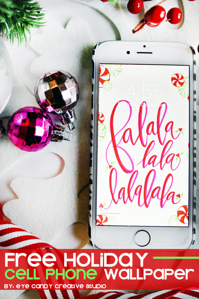 christmas cell phone wallpaper, falalalala, hand lettering, christmas freebie