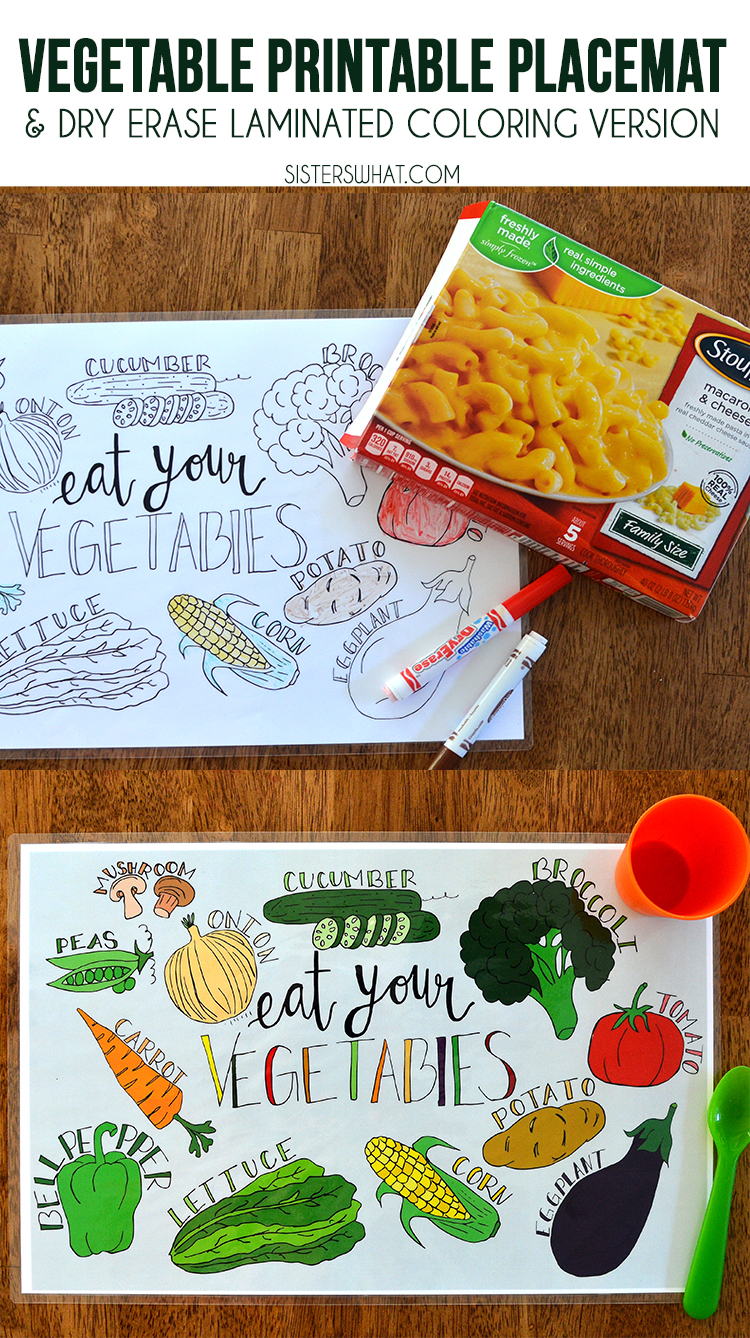 Vegetable printable place mat to make a balanced meal