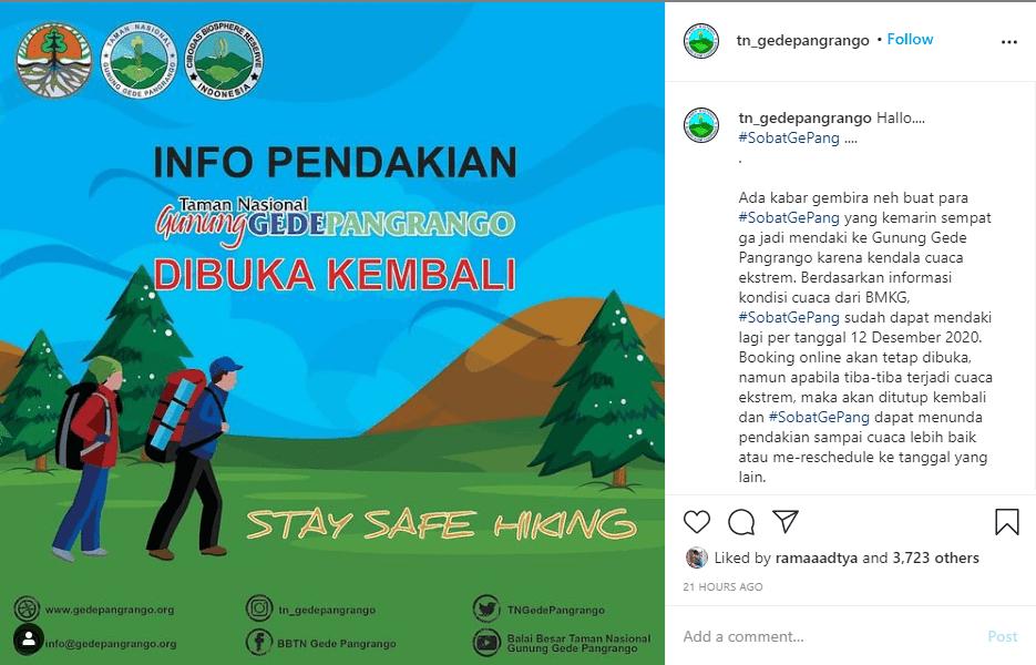 Info pembukaan pendakian gunung gede pangrango - @tn_gedepangrango
