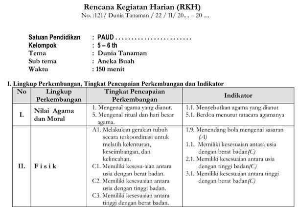 RKH PAUD 5-6 Tahun Tema Dunia Tanaman Kurikulum 2013